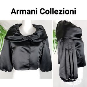 Armani Collezioni Satin Evening Jacket Black Sz 6